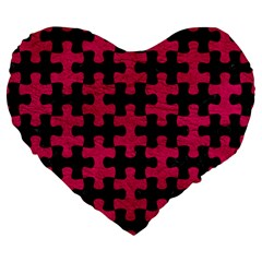 Puzzle1 Black Marble & Pink Leather Large 19  Premium Flano Heart Shape Cushions by trendistuff