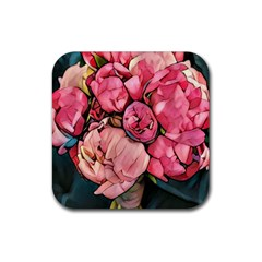Beautiful Peonies Rubber Square Coaster (4 Pack)  by 8fugoso