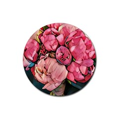 Beautiful Peonies Rubber Coaster (round)  by 8fugoso