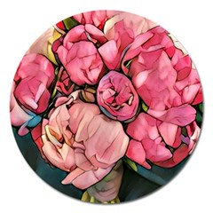Beautiful Peonies Magnet 5  (round) by 8fugoso