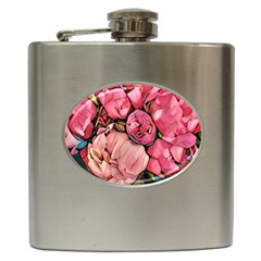 Beautiful Peonies Hip Flask (6 Oz) by 8fugoso