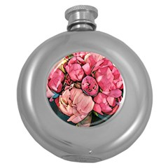 Beautiful Peonies Round Hip Flask (5 Oz) by 8fugoso