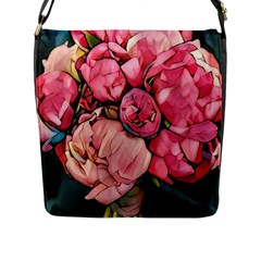 Beautiful Peonies Flap Messenger Bag (l)  by 8fugoso