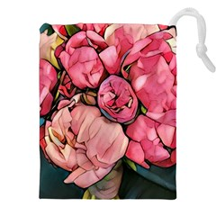 Beautiful Peonies Drawstring Pouches (xxl) by 8fugoso