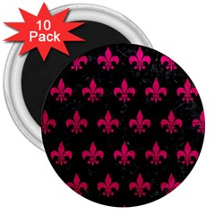 Royal1 Black Marble & Pink Leather 3  Magnets (10 Pack)  by trendistuff