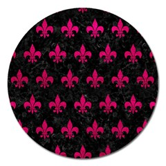 Royal1 Black Marble & Pink Leather Magnet 5  (round) by trendistuff