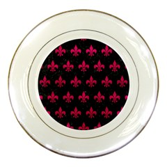 Royal1 Black Marble & Pink Leather Porcelain Plates by trendistuff