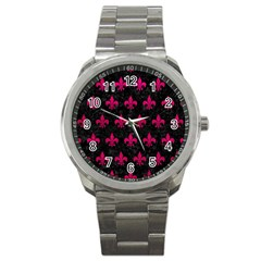 Royal1 Black Marble & Pink Leather Sport Metal Watch by trendistuff