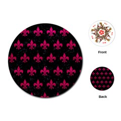 Royal1 Black Marble & Pink Leather Playing Cards (round)  by trendistuff