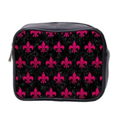 Royal1 Black Marble & Pink Leather Mini Toiletries Bag 2 Side by trendistuff
