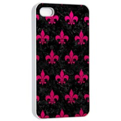Royal1 Black Marble & Pink Leather Apple Iphone 4/4s Seamless Case (white) by trendistuff