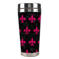 Royal1 Black Marble & Pink Leather Stainless Steel Travel Tumblers by trendistuff