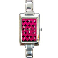 Royal1 Black Marble & Pink Leather (r) Rectangle Italian Charm Watch by trendistuff