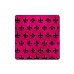 Royal1 Black Marble & Pink Leather (r) Square Magnet by trendistuff