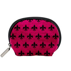 Royal1 Black Marble & Pink Leather (r) Accessory Pouches (small)  by trendistuff