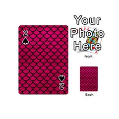 Scales1 Black Marble & Pink Leather Playing Cards 54 (mini)  by trendistuff