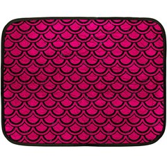Scales2 Black Marble & Pink Leather Double Sided Fleece Blanket (mini)  by trendistuff