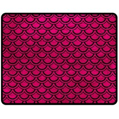 Scales2 Black Marble & Pink Leather Double Sided Fleece Blanket (medium)  by trendistuff