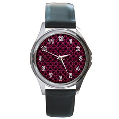 Scales2 Black Marble & Pink Leather (r) Round Metal Watch by trendistuff