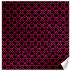 Scales2 Black Marble & Pink Leather (r) Canvas 16  X 16   by trendistuff