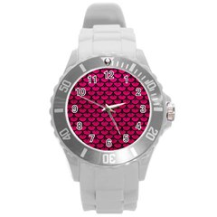Scales3 Black Marble & Pink Leather Round Plastic Sport Watch (l) by trendistuff