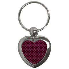 Scales3 Black Marble & Pink Leather (r) Key Chains (heart)  by trendistuff