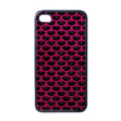 Scales3 Black Marble & Pink Leather (r) Apple Iphone 4 Case (black) by trendistuff