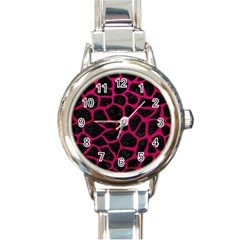 Skin1 Black Marble & Pink Leather Round Italian Charm Watch by trendistuff