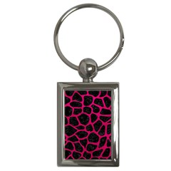 Skin1 Black Marble & Pink Leather Key Chains (rectangle)  by trendistuff