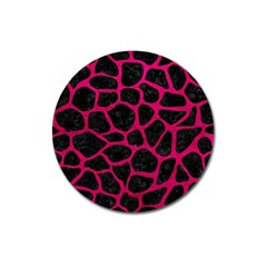 Skin1 Black Marble & Pink Leather Magnet 3  (round) by trendistuff