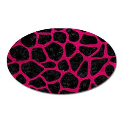 Skin1 Black Marble & Pink Leather Oval Magnet by trendistuff