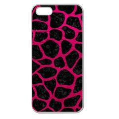 Skin1 Black Marble & Pink Leather Apple Seamless Iphone 5 Case (clear) by trendistuff