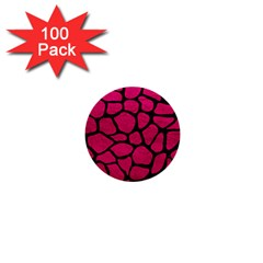 Skin1 Black Marble & Pink Leather (r) 1  Mini Buttons (100 Pack)  by trendistuff