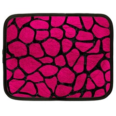 Skin1 Black Marble & Pink Leather (r) Netbook Case (large) by trendistuff