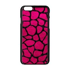 Skin1 Black Marble & Pink Leather (r) Apple Iphone 6/6s Black Enamel Case by trendistuff