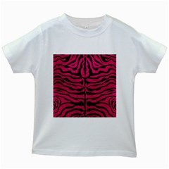 Skin2 Black Marble & Pink Leather Kids White T Shirts by trendistuff