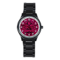 Skin2 Black Marble & Pink Leather Stainless Steel Round Watch by trendistuff