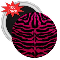 Skin2 Black Marble & Pink Leather (r) 3  Magnets (100 Pack) by trendistuff