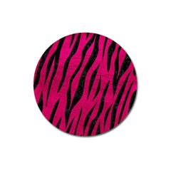 Skin3 Black Marble & Pink Leather Magnet 3  (round) by trendistuff