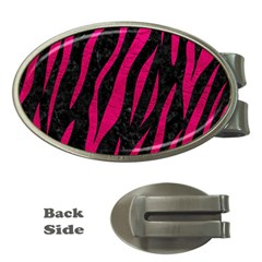 Skin3 Black Marble & Pink Leather (r) Money Clips (oval)  by trendistuff
