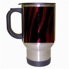 Skin3 Black Marble & Pink Leather (r) Travel Mug (silver Gray) by trendistuff