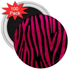 Skin4 Black Marble & Pink Leather 3  Magnets (100 Pack) by trendistuff