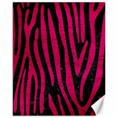 Skin4 Black Marble & Pink Leather Canvas 11  X 14   by trendistuff