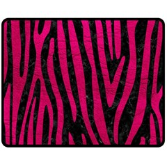 Skin4 Black Marble & Pink Leather Double Sided Fleece Blanket (medium)  by trendistuff