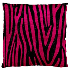 Skin4 Black Marble & Pink Leather Large Flano Cushion Case (one Side) by trendistuff