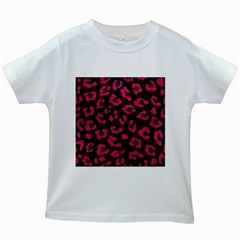 Skin5 Black Marble & Pink Leather Kids White T Shirts by trendistuff