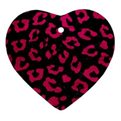 Skin5 Black Marble & Pink Leather Heart Ornament (two Sides) by trendistuff
