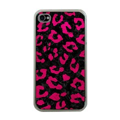 Skin5 Black Marble & Pink Leather Apple Iphone 4 Case (clear) by trendistuff