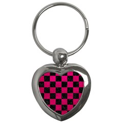 Square1 Black Marble & Pink Leather Key Chains (heart)  by trendistuff