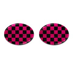 Square1 Black Marble & Pink Leather Cufflinks (oval) by trendistuff
